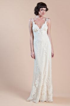 Bridal Gowns: Claire Pettibone Sheath Wedding Dress with V-Neck Neckline and Empire Waist Waistline