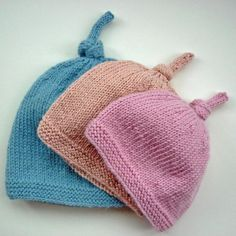 (6) Name: 'Knitting : Baby Hat with Top Knot - Tegan