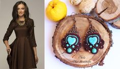 """Earrings """"Turquoise and Chocolate"""" 2 Sutazhnaya embroidery, turquoise, govlity, Japanese seed beads, metal elements, glass beads"""