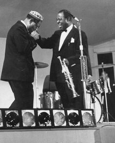 """Dizzy Gillespie and Louis Armstrong. Dizzy publicly paying homage to """"Pops""""."""