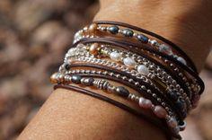 Boho Endless Leather Wrap Bracelet Silver & by fleurdesignz