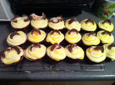 creme egg cupcakes with homemade creme egg filling  x