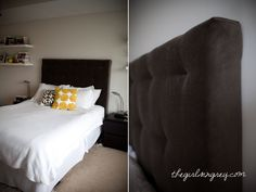 DIY tufted headboard. This is exactly what we did this week! It turned out great!
