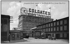 The original Colgate Clock in New Jersey. Jersey City, New Jersey, Old Neon Signs, Colgate Palmolive, Old Factory, Public Service, Usa News, Factories, Old Buildings