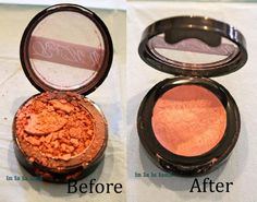 If your pressed makeup breaks up, here's how to fix it and make it pressed again.  Awesome.  Who knew rubbing alcohol could fix it.