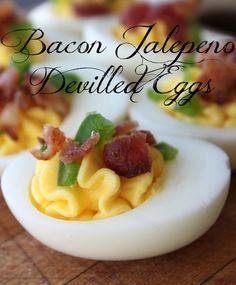 Bacon Jalepeno Devilled Eggs. Yum.