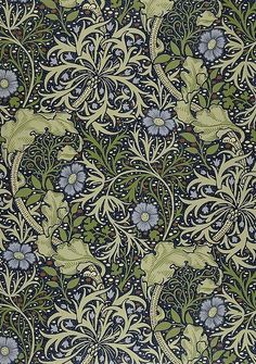Seaweed Pattern, arts and crafts, art nouveau, Victorian design by William Morris William Morris Patterns, William Morris Art, William Morris Wallpaper, Arts And Crafts Interiors, Art Nouveau Illustration, Arts And Crafts For Adults, Morris Wallpapers, Art And Craft Videos, Arts And Crafts Movement