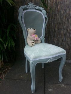 FRENCH LOUIS CHATEAU SHABBY CHIC ROCOCO BEDROOM CHAIR. Painted with Annie Sloan chalk paint in the 'Duckegg' shade