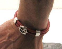 EXPRESS verzending mannen leren armband rood lederen armband met silver plated anker spacer en siver vergulde gesp sluiting