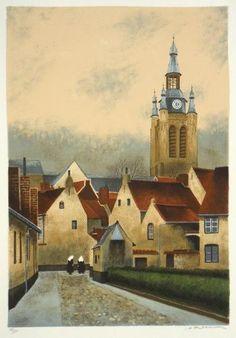 André RENOUX,1939-2002. Le Béguinage de Courtrai en Belgique, «Alms House At Courtrai, Belgium». Lithographie