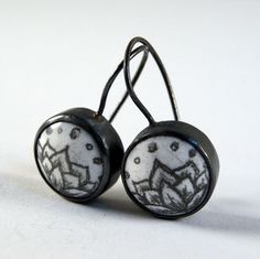 Lotus Earrings - Glass Enamel Drawings and Oxidized Sterling Silver on Etsy, $95.00