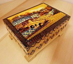 Handmade Bulgarian Wooden Casket Box Case Footlocker Souvenir Jewelry Storage