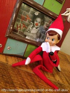 Funny Elf on The Shelf Ideas – Rudolph Nose on Your Family Photo. This and other daily ideas on Frugal Coupon Living. FREE Elf Notes too.