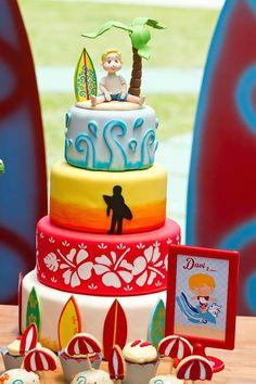 Surf themed birthday party via Kara's Party Ideas : The Cake