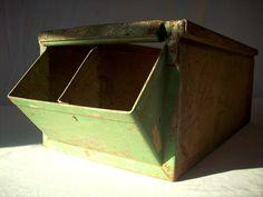 Vintage LYON Folded Metal Industrial Hardware Bin. $39.00, via Etsy.