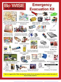 RED CROSS: suggested Emergency Evacuation Kit This is a suggest list: While choosing the contents of your emergency kit, consider the needs of all your family members.