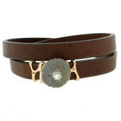 Single Diamond Leather Bracelet