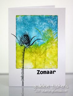 A quick and easy one layer card.   I used an acrylic block and Distress Ink to stamp a background.   Een snel en makkelijk 1-laags kaart...