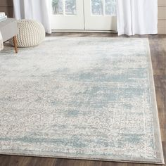 Safavieh Passion Watercolor Vintage Turquoise / Ivory Rug (6' 7 Square)