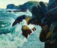 Gull Rock, Monhegan - Kroll, Leon (American, 1884 - Fine Art Reproductions, Oil Painting Reproductions - Art for Sale at Galerie Dada Jamie Wyeth, Monhegan Island, Rockwell Kent, Oil Painting Reproductions, True Art, Seascape Paintings, Famous Artists, Online Art Gallery, Impressionism