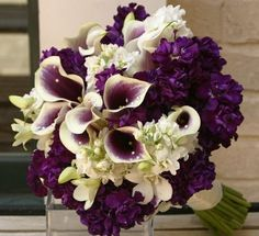 calla lily, freesia, purple stock flowers - Beautiful Bridal Bouquet