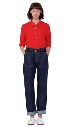 WOMEN SPRING SUMMER 2016 - Bright red linen voile pull-on shirt, indigo denim twill worker jean MHL, black cotton/leather roller buckle webbing belt, white leather brogue