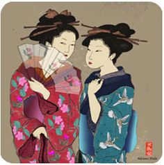 Two geisha marble plaque