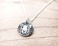 Tiny rat necklace - silver pet rat pendant - fancy rat memorial necklace remembrance jewelry $30 18 INCH CHAIN