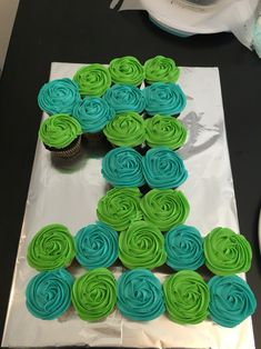 First birthday cake - cupcakes in the shape of a 1