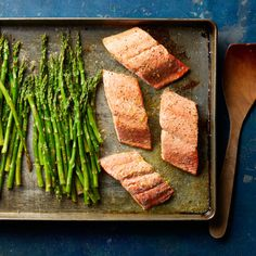 Looking for a recipe to help you eat more heart-healthy fish and veggies? Add this salmon and asparagus dinner to your rotation. Not only is it healthy and delicious, this sheet-pan dinner is also easy to make and a breeze to clean up. Salmon Recipes, Fish Recipes, Seafood Recipes, Dinner Recipes, Cooking Recipes, Healthy Recipes, Ninja Recipes, Spinach Recipes, Clean Recipes