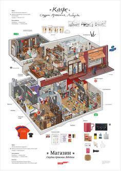 The interior of the Art Lebedev studio's Store and Big Café on Bankovsky pereulok Isometric Art, Isometric Design, Environment Concept, Environment Design, Creative Design, Design Art, Pix Art, Information Design, Art Background