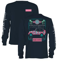The pursuit of preppiness is a long and winding road. Luckily, this shirt features a sturdy yet fashionable Jeep 4x4 which will expertly navigate the way to your weekend retreat! You and everyone else will enjoy this NEW long sleeve shirt from Simply Southern. We proudly offer free shipping on this shirt! #SimplySouthern #SouthernRecollection #Jeep #JeepGirl
