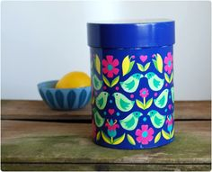 Vintage/retro tin canister by IRA Denmark design by Arne Bentsen - mid century - danish modern, via Etsy.