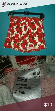 Rose floral terrycloth stretch shorts Worn a few times. Really cute. Good condition. Smoke free home. Chinese brand.  Waist- 26 / 27 in Hip- 36/37 in  Size small Shorts