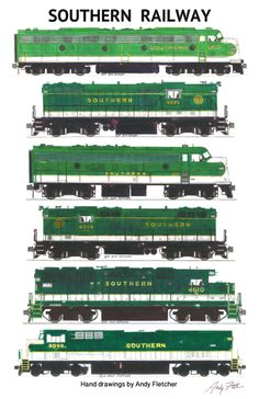 6 hand drawn Southern Railway green locomotive drawings by Andy Fletcher