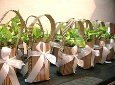 Use live plants for decorations or favors!  Replant after the wedding!