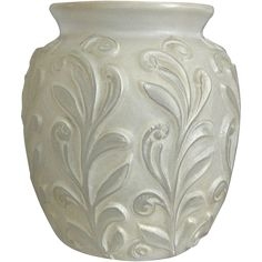 This lovely Phoenix Sculptured Artware Figured vase features a scrolling floral-like design, with an elegant white wash over satin crystal glass.