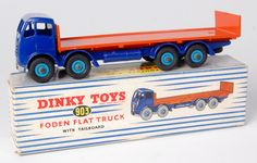 Dinky #903 Foden flat truck with tailboard, 2nd type violet blue cab and chassis, orange flatbed, mid-blue hubs