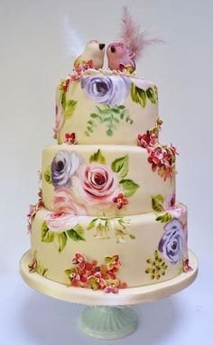 Amelie's House: Painted rose and hydrangea wedding cake by RioLeigh