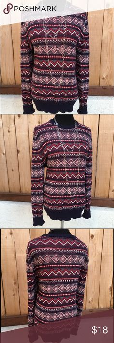 """🆕Navy Blue & Red Sweater Navy blue, red & white knit long sleeve pull over sweater is 100% Cotton. Measurements are pit to pit 22.5"""" & from shoulder seam to bottom of sweater top 27.5"""". In excellent like new condition with no spots or damage. Merona Sweaters Crew & Scoop Necks"""