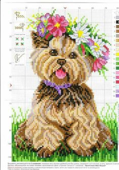 What a gorgeous idea - a cross stitch Yorkie baby. I will most definitely make this in the New Year. Counted Cross Stitch Patterns, Cross Stitch Charts, Cross Stitch Designs, Cross Stitch Embroidery, Embroidery Patterns, Loom Patterns, Cross Stitch Animals, Cross Stitch Flowers, Crochet Cross