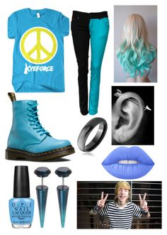 """KyeForce"" by davinaespinosa ❤ liked on Polyvore featuring Dr. Martens, Bling Jewelry, Lime Crime and OPI"