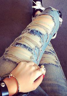 Shredding Chains Jeans - Cool Shredded Chains Pants.
