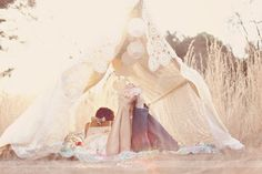 Chasing Rainbows Kissing Frogs: Vintage TeePee Engagement Photo Shoot