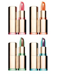 "Colored plastic lip stick packaging - ""Lisse minute baume cristal, édition limitée"" by Clarins"
