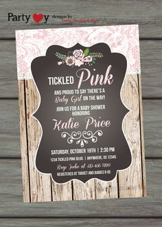 Tickled Pink Baby Shower Invitation Shabby by PartyInvitesAndMore