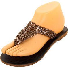 bddcb54d9d11ce Womens Metallic Ring Sandals Shoe Gladiator Thong Flip Flop T Strap Flat  Slip On