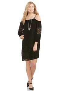 Lace Trim Cold Shoulder Shift Dress