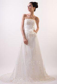 Robe de mariée Tulle Bustier Automne Traîne Mi-longue Appliques