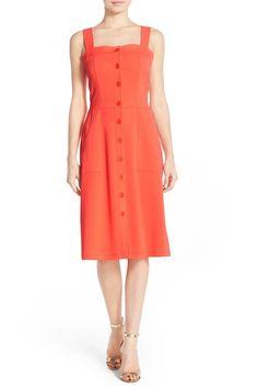 Front Button Crepe Fit & Flare Dress by Amanda Uprichard on @nordstrom_rack